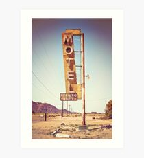 Motel Sign on the Route 66 Art Print