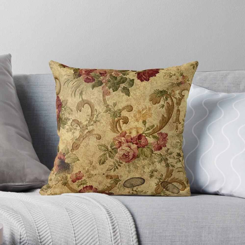 Vintage,tapestry,floral,elegant,victorian,rustic,grunge,elegant,chic Throw Pillow