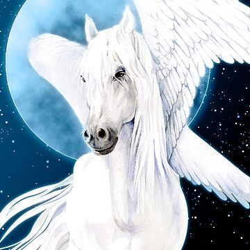 pegasus white female on moon night sky by armornavy