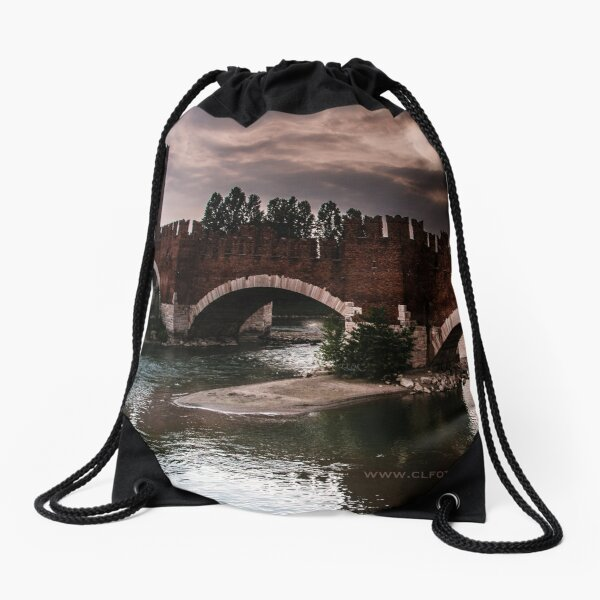 Castlevecchio Bridge, Verona, Italy Drawstring Bag