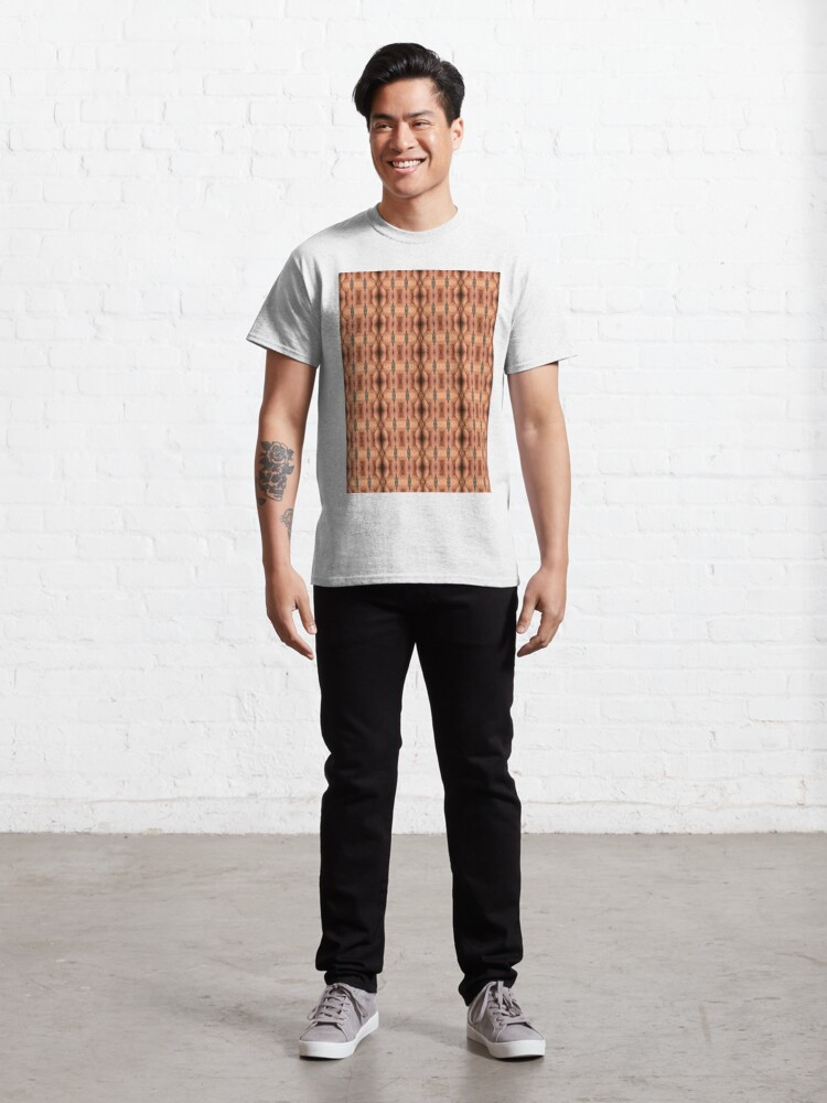 Alternate view of #texture #pattern #abstract #textured #brown #textile #fabric #metal #material #surface #design #backgrounds #wallpaper #woven #macro #fiber #seamless #canvas #rough #detail #structure #closeup Classic T-Shirt