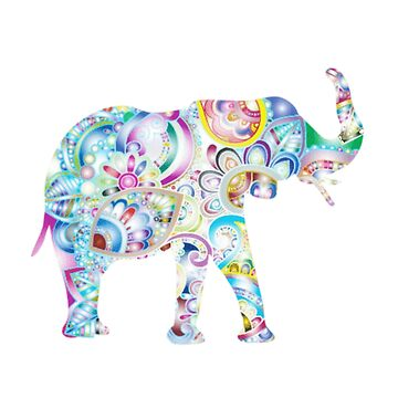 Colorful Blue Elephant with Floral Design by Vintage-Rose