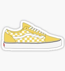 Yellow Checkered Vans Old Skool Shoes Sticker