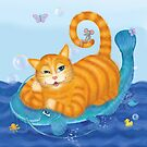 Orange tabby cat and blue catfish floating in a sea of joy by Andreea Dumez