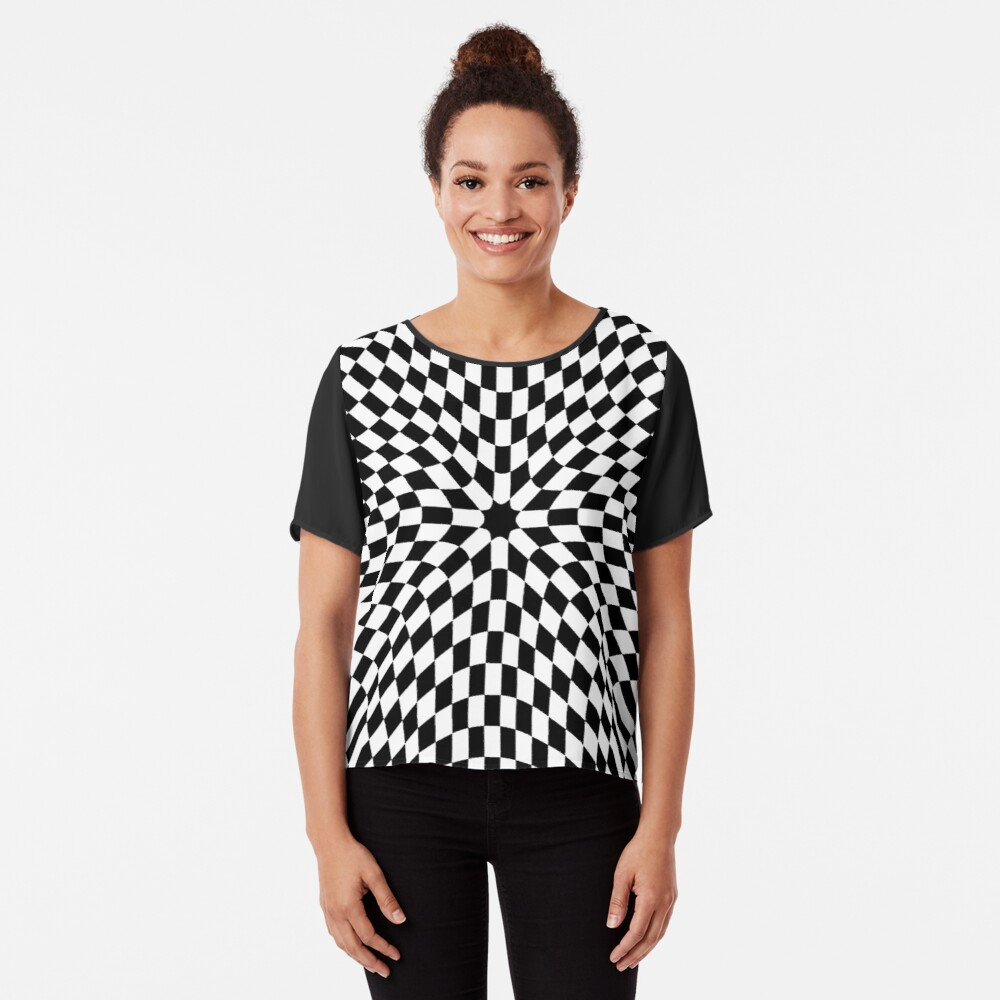 #black #white #checkered #chess #pattern #abstract #flag #floor #square #checker #board #chessboard #texture #check #design #race #illustration #squares #tile #racing #game  #checked #tiles #geometric Chiffon Top