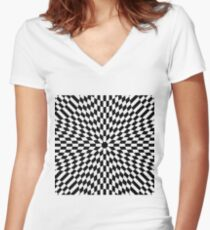 #metal #pattern #texture #abstract #steel #metallic #black #grid #hole #mesh #iron #design #textured #wallpaper #surface #gray #technology #material #backgrounds #round #seamless #circle #backdrop Women's Fitted V-Neck T-Shirt