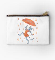 Hallelujah! It's raining GOLDfish! Funny cat with umbrella Studio Pouch