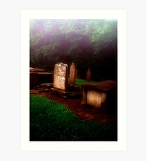 Headstones in the MIst Art Print