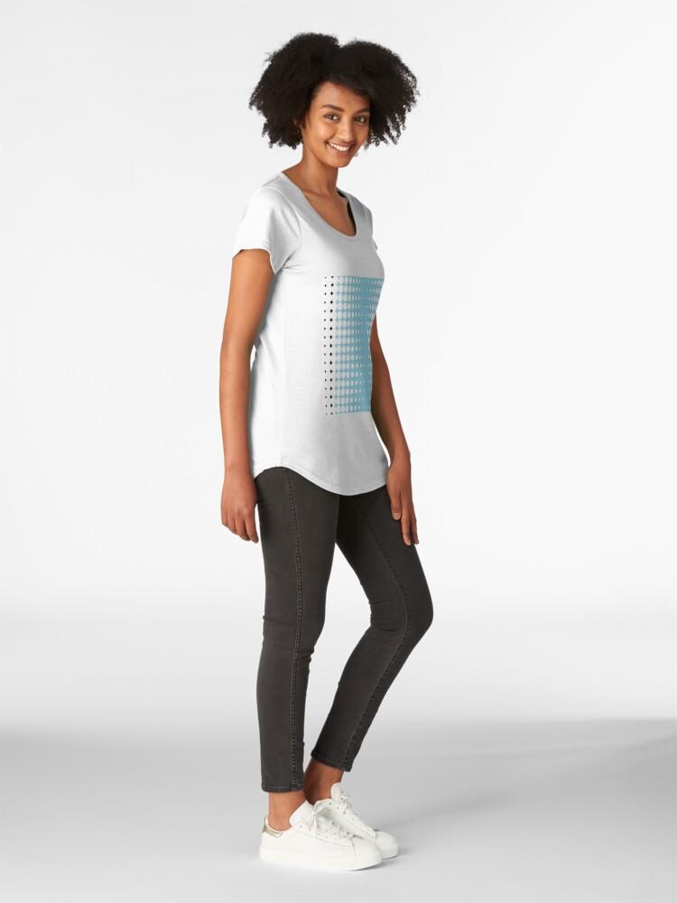Alternate view of #pattern #abstract #texture #blue #dot #wallpaper #design #white #seamless #circle #polka #illustration #fabric #backdrop #decoration #color #art #retro #dots #shape #graphic #textile #decorative Premium Scoop T-Shirt