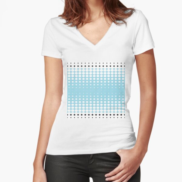 #pattern #abstract #texture #blue #dot #wallpaper #design #white #seamless #circle #polka #illustration #fabric #backdrop #decoration #color #art #retro #dots #shape #graphic #textile #decorative Fitted V-Neck T-Shirt