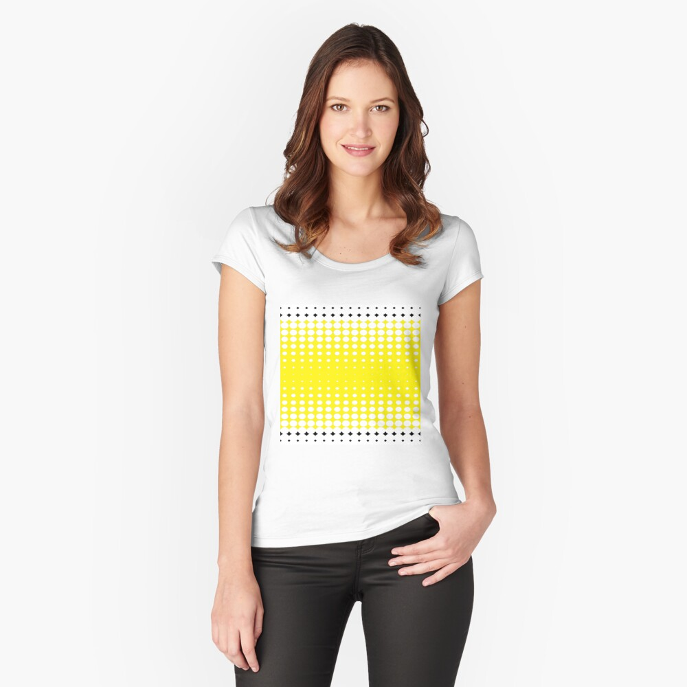 #pattern #abstract #texture #yellow #design #honeycomb #orange #wallpaper #honey #color #backdrop #illustration #bee #grid #backgrounds #textured #dot #hexagon #gold #art #metal #macro #seamless  Women's Fitted Scoop T-Shirt Front