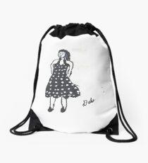 Retro Girl in Black & White Drawstring Bag