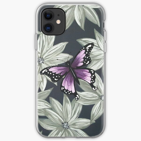 Purple Butterfly on Grey iPhone Soft Case