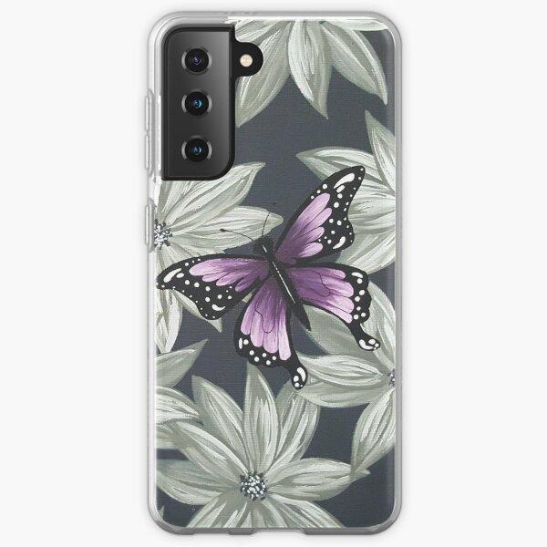 Purple Butterfly on Grey Samsung Galaxy Soft Case