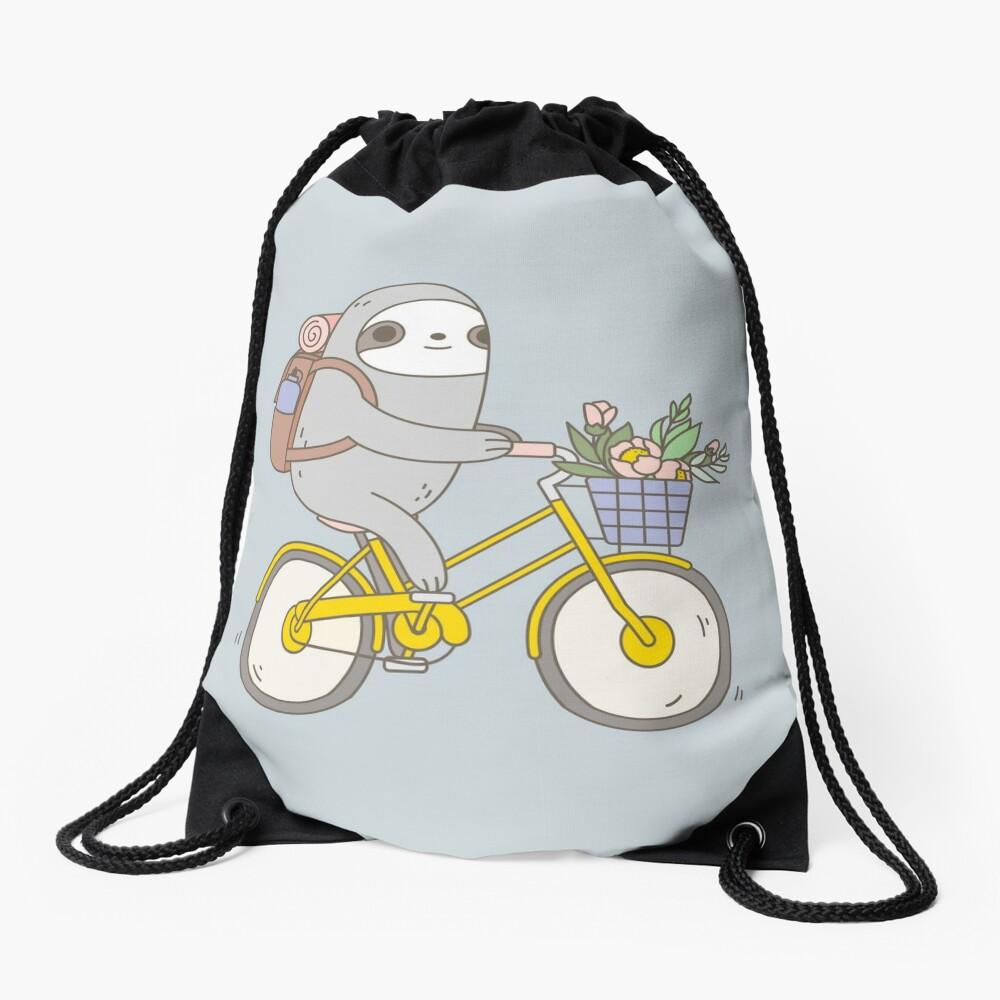 Biking Sloth  Drawstring Bag