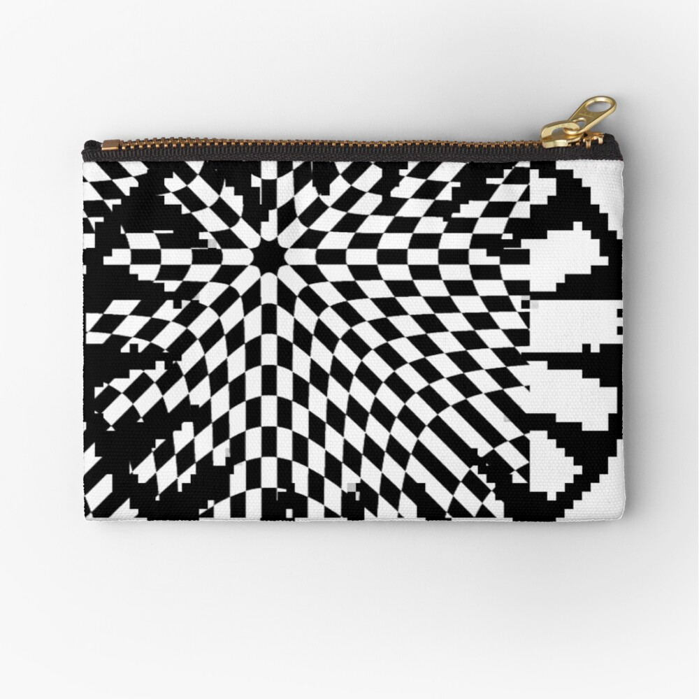 #white #black #abstract #pattern #3d #texture #checkered #illustration #arrow #design #cursor #isolated #flag #pixel #computer #icon #tile #square #symbol #graphic #mouse #concept #perspective Zipper Pouch