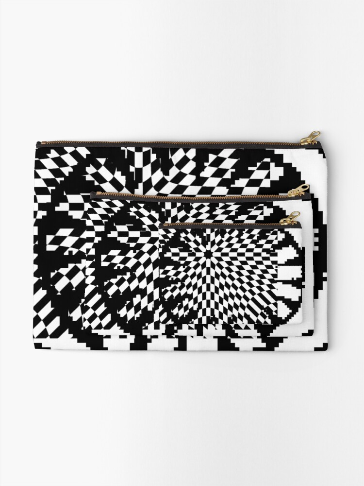 Alternate view of #white #black #abstract #pattern #3d #texture #checkered #illustration #arrow #design #cursor #isolated #flag #pixel #computer #icon #tile #square #symbol #graphic #mouse #concept #perspective Zipper Pouch