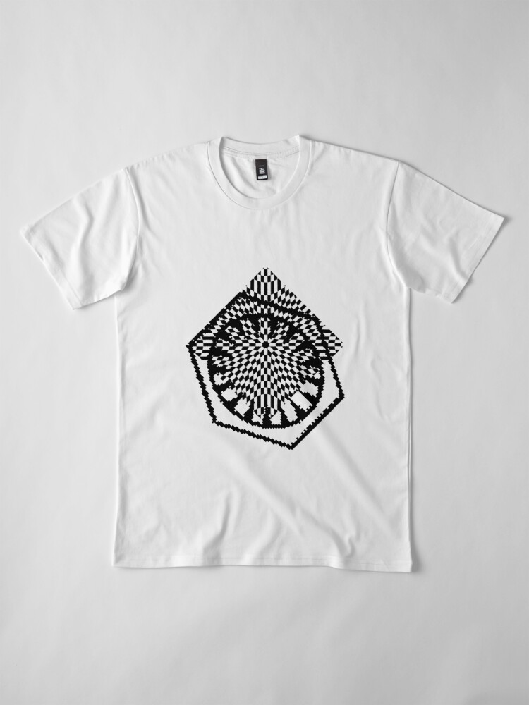 Alternate view of #white #black #abstract #pattern #3d #texture #checkered #illustration #arrow #design #cursor #isolated #flag #pixel #computer #icon #tile #square #symbol #graphic #mouse #concept #perspective Premium T-Shirt