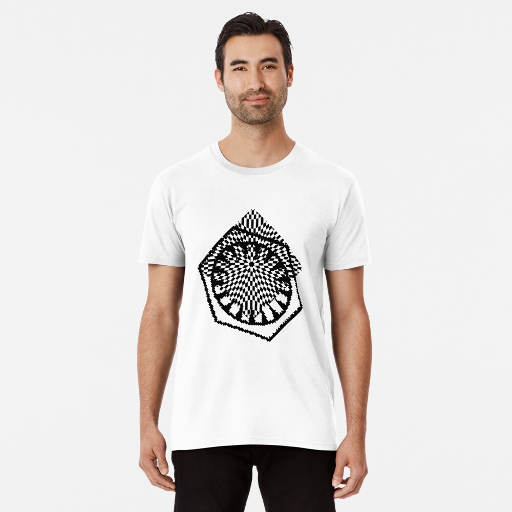 #white #black #abstract #pattern #3d #texture #checkered #illustration #arrow #design #cursor #isolated #flag #pixel #computer #icon #tile #square #symbol #graphic #mouse #concept #perspective Premium T-Shirt