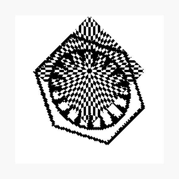 #white #black #abstract #pattern #3d #texture #checkered #illustration #arrow #design #cursor #isolated #flag #pixel #computer #icon #tile #square #symbol #graphic #mouse #concept #perspective Photographic Print