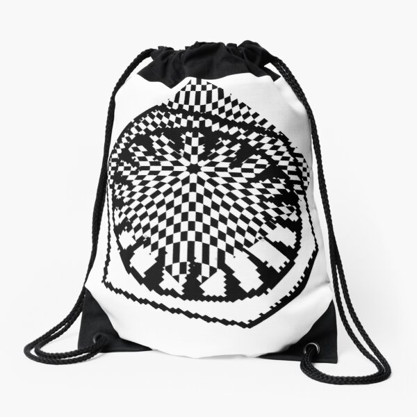 #white #black #abstract #pattern #3d #texture #checkered #illustration #arrow #design #cursor #isolated #flag #pixel #computer #icon #tile #square #symbol #graphic #mouse #concept #perspective Drawstring Bag