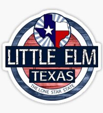 Little Elm Texas rustic wood circle Sticker