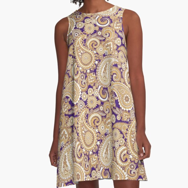 Paisley Game Day Dress | Purple and Gold A-Line Dress