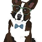 Cool Hipster Cardigan Welsh Corgi Sticker for Dog Lovers by haidishabrina