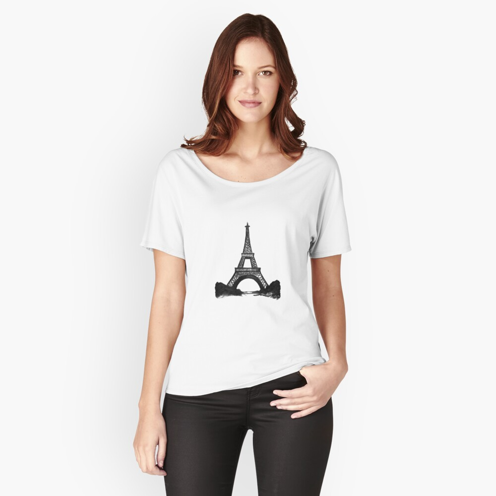 Eiffel Tower in Black Women's Relaxed Fit T-Shirt Front