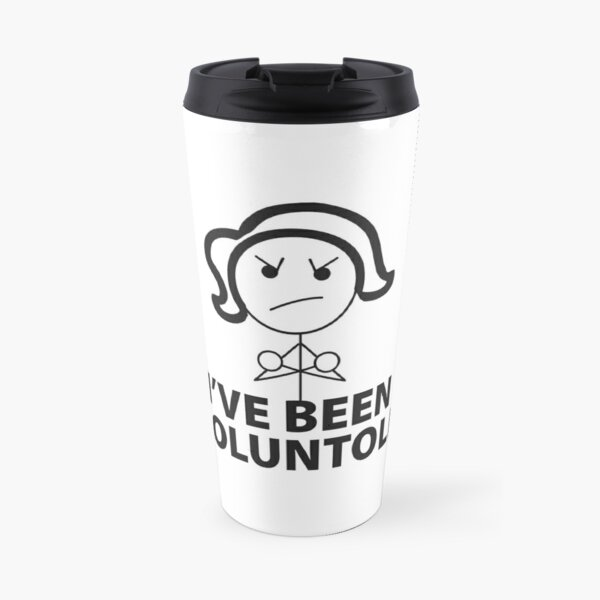 Voluntold Female Stick Figure Travel Mug