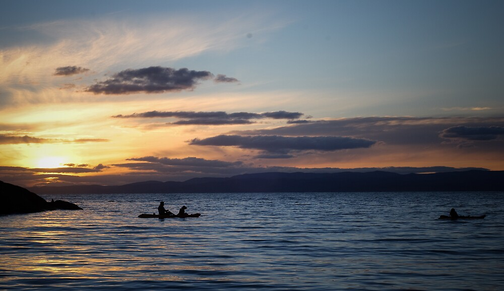 Fishing at Sunset by Mark Huber