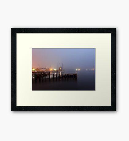 Fog in the harbor Framed Print