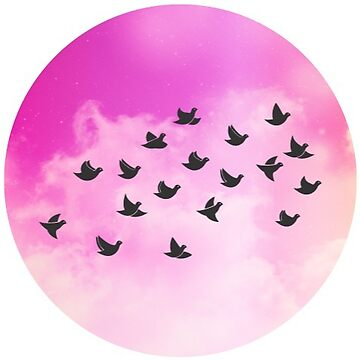 Bird Flock Pink Clouds by TeeVision