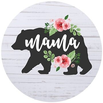 Mama Bear Floral Rustic Wood by TeeVision