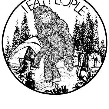 Bigfoot Camping Hiking Shirt Bigfoot I Eat People Funny by anphasox