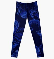 Handgezeichneter Marineblau-Damast Leggings