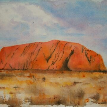 Uluru Outback Australia in Watercolour by lyndseyart