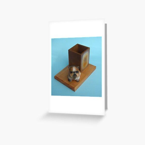 Bulldog desk tidy. Greeting Card