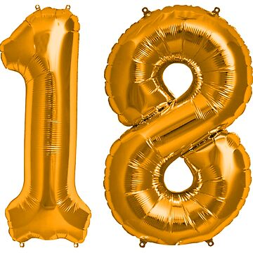 Bright Orange 18th Birthday Metallic Helium Balloons Numbers by Birthdates