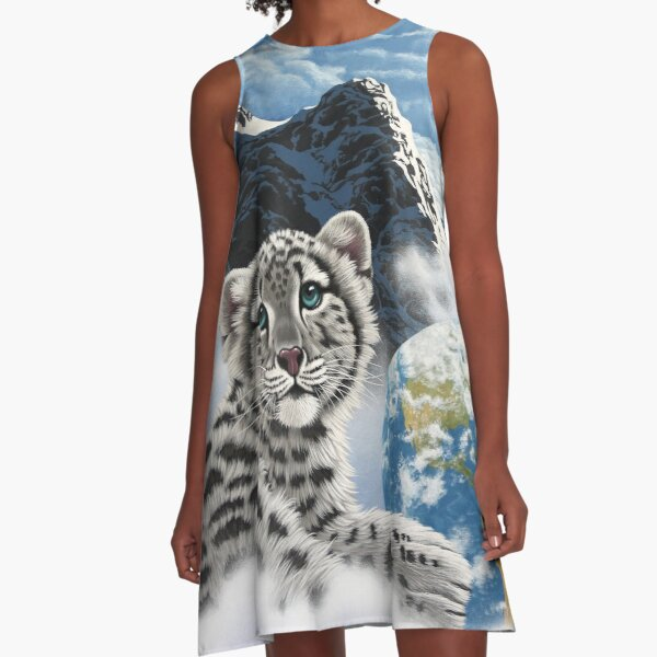 Bed Of Clouds, snow leopard and earth A-Line Dress
