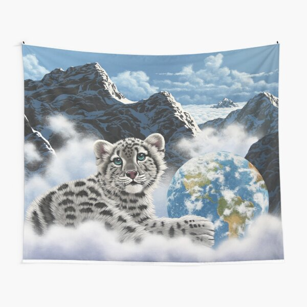 Bed Of Clouds, snow leopard and earth Tapestry