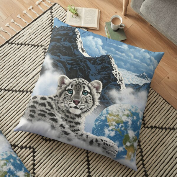 Bed Of Clouds, snow leopard and earth Floor Pillow