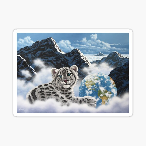 Bed Of Clouds, snow leopard and earth Sticker