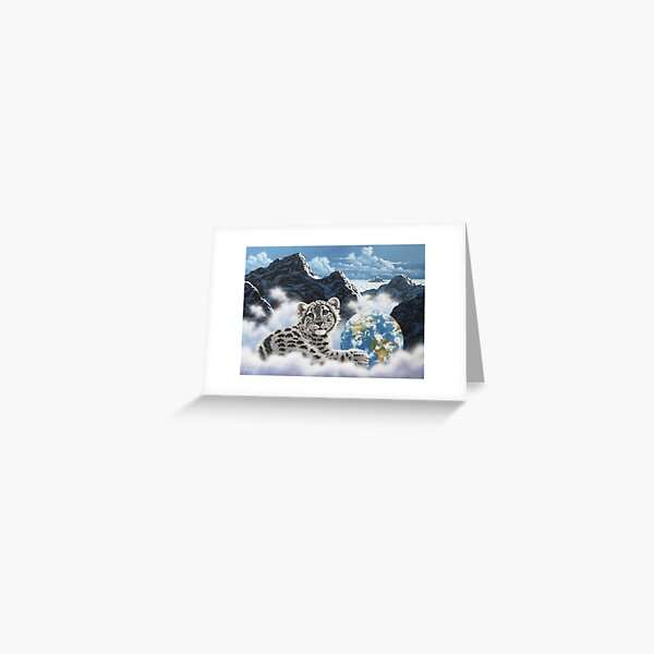 Bed Of Clouds, snow leopard and earth Greeting Card