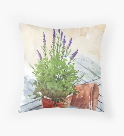 Lavender in a pot Throw Pillow