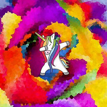 Rainbow Sparkle Dabbing Unicorn by ThisOnAShirt