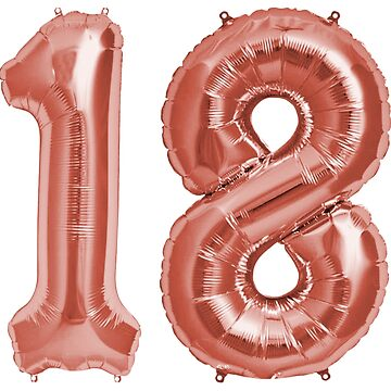 Rose Gold 18th Birthday Metallic Helium Balloons Numbers by Birthdates