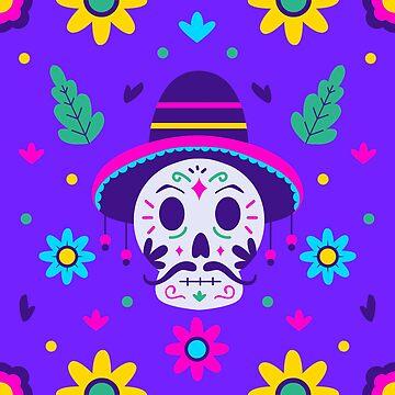 dia de los muertos floral skull by gossiprag