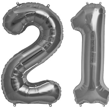 Silver Grey 21st Birthday Metallic Helium Balloons Numbers by Birthdates