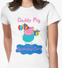 Camiseta entallada para mujer Peppa Pig, Daddy Pig, papá de la niña del cumpleaños, familia de Peppa Pig